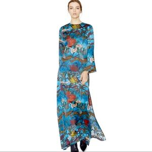 Alice & Olivia Blue Silk Floral Dress Gown Size 0